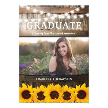 Rustic Sunflower Photo 2018 Graduation Party Card
