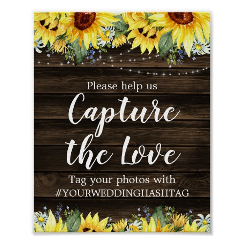 Rustic Sunflower String Lights Wedding Hashtag Poster