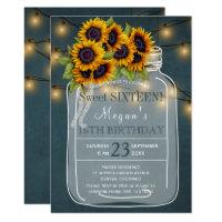 Rustic | Sunflowers lights mason jar sweet sixteen Card
