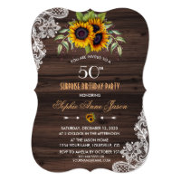 Rustic Sunflowers Wood 50 Birthday Party Invite