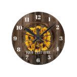 Rustic Sunflowers & Wood Wheel Country Round Clock