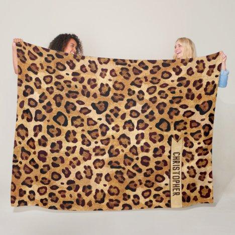 Rustic Texture Leopard Print Add Name Fleece Blanket