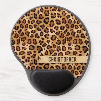 Rustic Texture Leopard Print Add Name Mouse Pad