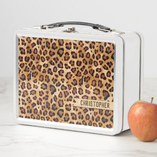 Rustic Texture Leopard Print Add Name Metal Lunch Box