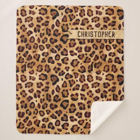 Rustic Texture Leopard Print Add Name Sherpa Blanket