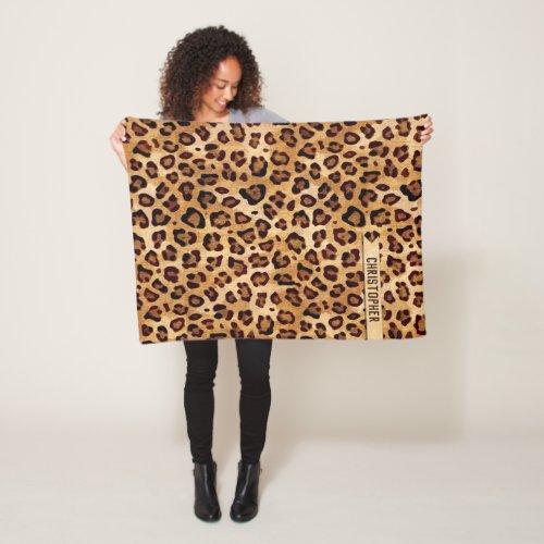 Rustic Texture Leopard Print Add Name Small Fleece Blanket