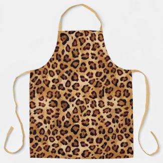 Rustic Texture Leopard Print Apron