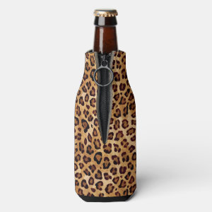 Rustic Texture Leopard Print Bottle Cooler