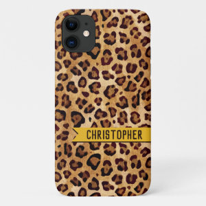 Rustic Texture Leopard Print Name Mustard Yellow iPhone 11 Case