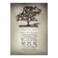 Rustic tree & string lights wedding invitations
