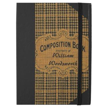 "Rustic Vintage Composition Book iPad Pro 12.9"" Case"