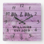 Rustic Vintage Girly Floral Pink Distressed Wood Square Wall Clock