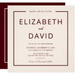 Rustic Warm Burgundy Modern Minimalist Wedding Invitation