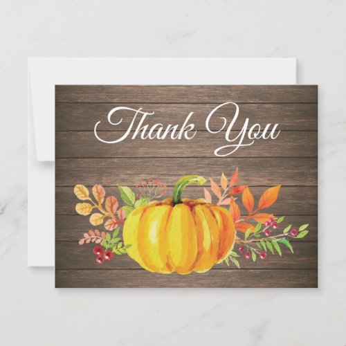 Rustic Watercolor Fall Pumpkin Thank You card
