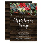 Rustic Watercolor Floral Christmas Party Invitation