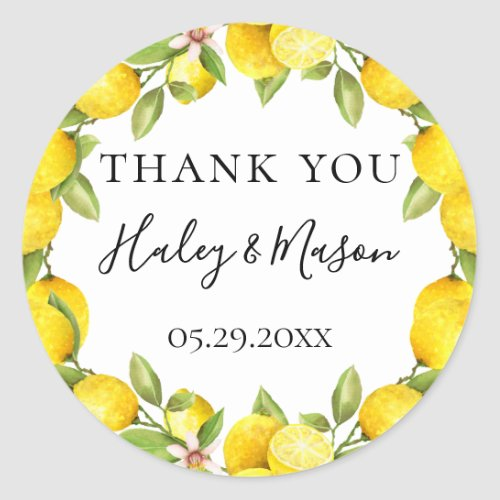 Rustic Watercolor Lemon Frame Thank You Favor Classic Round Sticker
