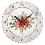 Rustic Watercolor Style Poinsettias Large Clock