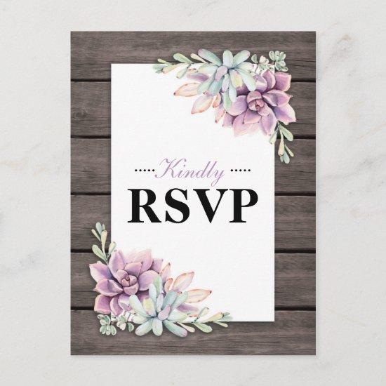 Rustic Watercolor Succulent Floral Wedding RSVP Invitation Postcard