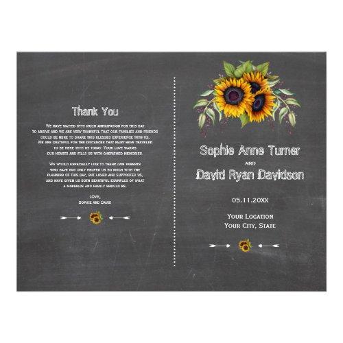 Rustic Watercolor Sunflowers Chalk Wedding Program