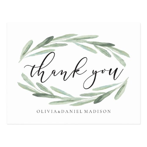 Rustic Watercolor Wreath Wedding Thank You Photo Postcard