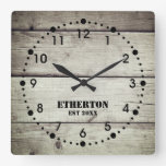 Rustic Weathered Wood Style Acrylic Clock
