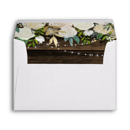 Rustic White Floral String Lights Return Address Envelope