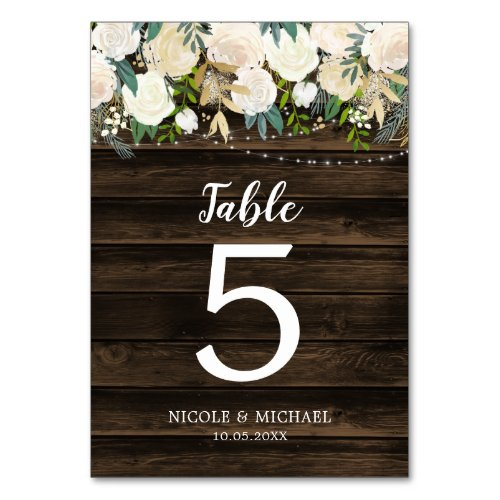 Rustic White Floral String Lights Wedding Table Number