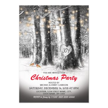 Rustic Winter Tree & String Lights Christmas Party Invitation