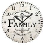 Rustic Wood Anniversary Vintage Family Name Custom Large Clock