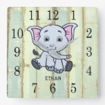 Rustic Wood Baby Elephant Personalized Nursery Square Wall Clock