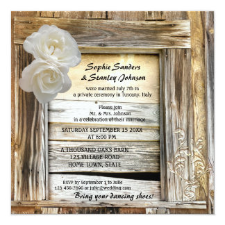 Rustic Wood Barn Post Wedding Invitation