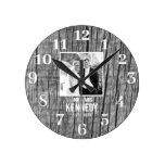 Rustic Wood Black And White Photo Wedding Round Clock