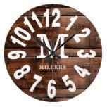 Rustic Wood Bold Numbers Family Name Monogram  Large Clock
