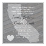 Rustic wood California gray wedding invitations