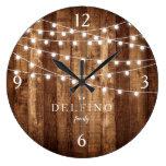 Rustic Wood Fairy Lights Farmhouse Kitchen Custom Large Clock