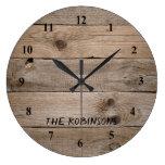 Rustic Wood Grain Custom Large Clock