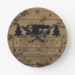 Rustic Wood Happy Campers   RV Retirement Retired Round Clock