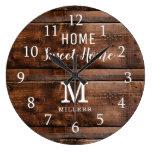 Rustic Wood Home Sweet Home Monogram Family Name Large Clock