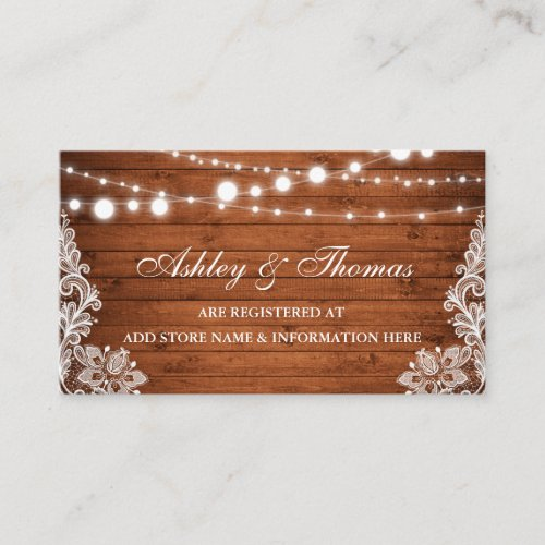 Rustic Wood Lace Wedding Registry Insert Card