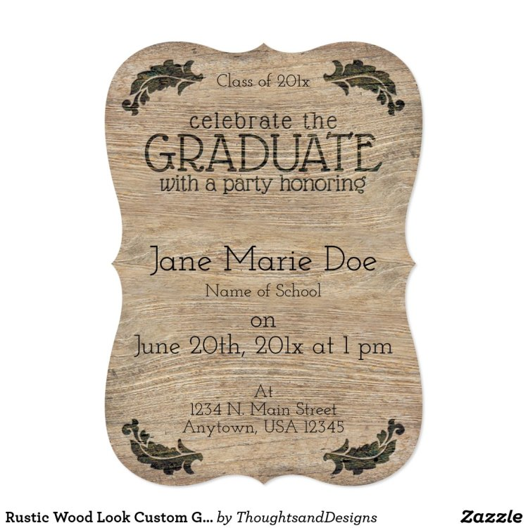 rustic style graduation announcements that can be personalized
