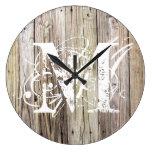 Rustic Wood Monogrammed Clock