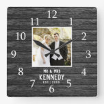 Rustic Wood Personalized Wedding Anniversary Photo Square Wall Clock