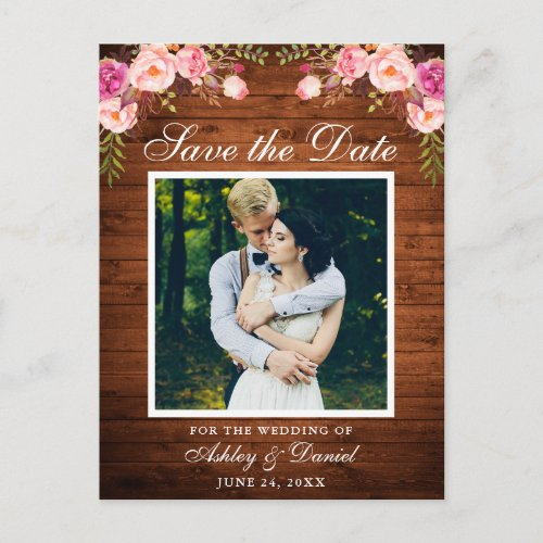 Rustic Wood Pink Floral Save the Date Photo Announcement Postcard