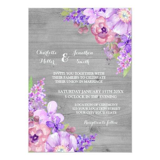 Purple Country Wedding Invitations