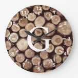 Rustic Wood Slice Stumps White Numbers | Monogram Large Clock