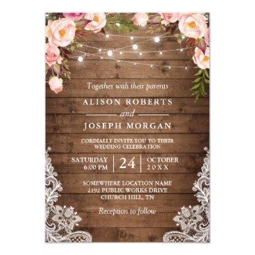 Rustic Wood String Lights Lace Floral Farm Wedding Card