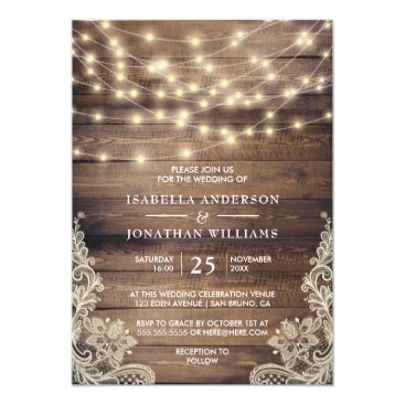 Rustic Wood & String Lights | Vintage Lace Wedding Invitation