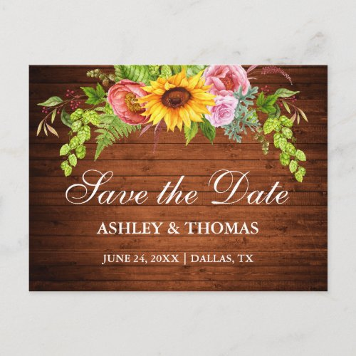 Rustic Wood Sunflower Floral Save The Date Invitation Postcard