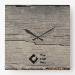 Rustic Wood Texture with Logo Square Wall Clocks