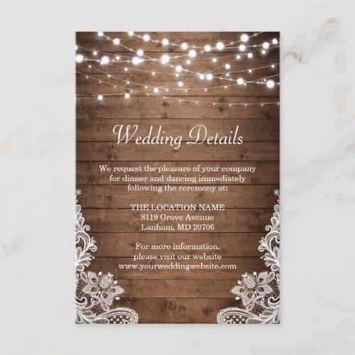 Rustic Wood Twinkle Lights Lace Wedding Details Enclosure Card